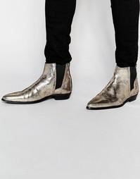 Ботинки челси цвета золотистый металлик ASOS - Золотой