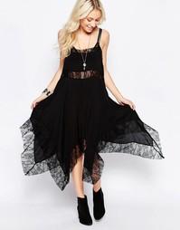 Платье асимметричной длины с кружевными вставками Free People - Черный