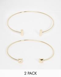 Набор из двух незамкнутых браслетов с геометрическим дизайном Orelia