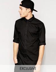Длинная рубашка на пуговицах эксклюзивно для Standard Issue - Черный