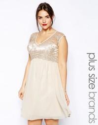 Платье с кружевным лифом с V-образным вырезом и расклешенной юбкой Lit Little Mistress Plus