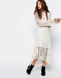 Белое кружевное платье миди Stevie May Endevour - Кремовый
