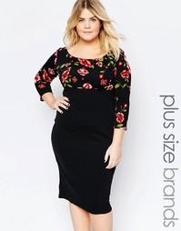 Платье с цветочным принтом на топе Goddiva Plus - Черный