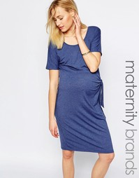 Трикотажное платье с узлом Mamalicious - Синий Mama.Licious