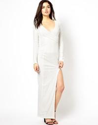 Платье макси с пайетками AX Paris - Белый
