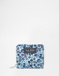 Темно-синий кошелек на молнии с цветочным принтом Jack Wills