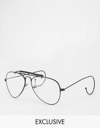 Очки-авиаторы с прозрачными стеклами Reclaimed Vintage General