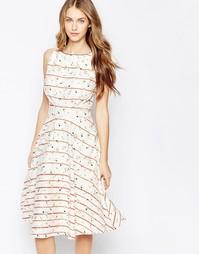 Платье в стиле ретро Trollied Dolly Royally - Кремовый в полоску