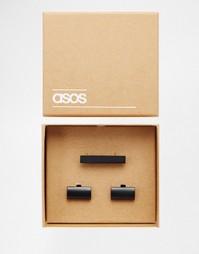 Подарочный набор с черным зажимом для галстука и запонками ASOS