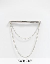 Зажим для галстука с цепочками Reclaimed Vintage - Серебряный