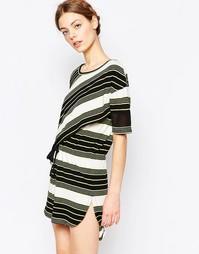 Платье с затягивающимся шнурком Harlyn - Светло-зеленая полоска