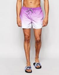 Короткие шорты для плавания с эффектом деграде Threadbare - Фиолетовый