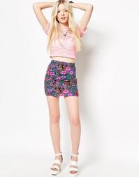 Облегающая юбка с флуоресцентным цветочным принтом Motel Kimmy