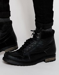 Черные кожаные ботинки с замшевой отделкой на манжетах ASOS - Черный