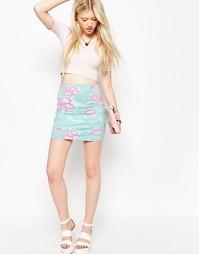 Облегающая юбка с цветочным принтом Motel Kimmy - Мятный