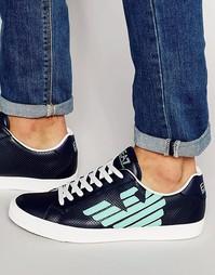 Перфорированные кроссовки с логотипом EA7 - Синий