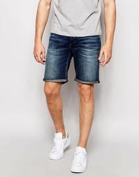 Умеренно выбеленные джинсовые шорты Selected Homme - Умеренный синий