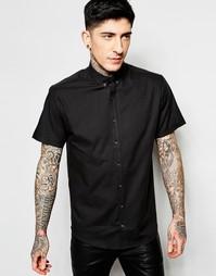 Черная оксфордская рубашка с короткими рукавами Lindbergh - Черный