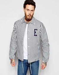 Спортивная хлопковая куртка с вертикальными полосками и нашивкой с лог Edwin