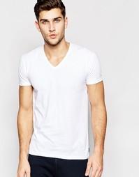 Белая облегающая футболка с V-образным вырезом Paul Smith - Белый