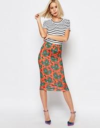 Облегающая юбка с принтом кактусов House of Holland - Оранжевый