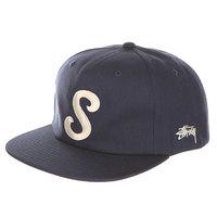 Бейсболка с прямым козырьком Stussy Classic S Strapback Cap Navy