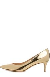 Туфли лодочки Сlassic из золотой кожи Gianvito Rossi
