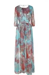 Шелковое платье с разрезами и укороченным рукавом Blugirl