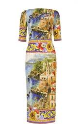 Платье-футляр с контрастным принтом и вышивкой Dolce & Gabbana