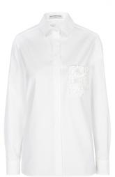 Прямая блуза с декорированным цветами карманом Balenciaga