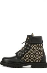 Ботинки в стиле милитари с люверсами Balmain