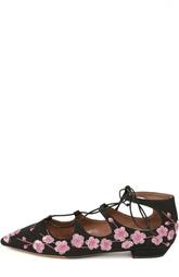 Балетки на шнуровке с вышивкой в виде цветов магнолии Tabitha Simmons