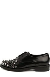 Кожаные ботинки  со шнуровкой и стразами Coliac