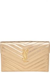 Клатч Monogramme classic из золотой стеганой кожи Saint Laurent