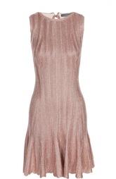 Приталенное вязаное платье с металлическим эффектом Alexander McQueen