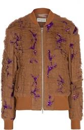Куртка-бомбер на молнии с оборками и пайетками Dries Van Noten