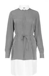 Платье-рубашка с поясом и полупрозрачной вставкой HUGO BOSS Black Label