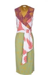 Платье с запахом и контрастными принтом и поясом Dries Van Noten
