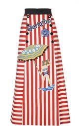 Хлопковая юбка-макси в полоску с нашивками Dolce & Gabbana