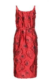 Платье-футляр с вышивкой и вырезом на спине Oscar de la Renta