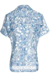 Блуза с укороченным рукавом и контрастным принтом Carven