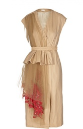 Платье с запахом и асимметричной вышитой вставкой Dries Van Noten