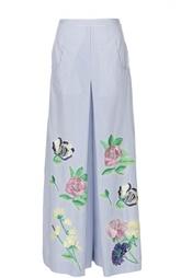 Широкие брюки с разрезами и вышивкой Blumarine