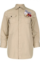 Блуза с укороченным рукавом и вышивкой на кармане Dsquared2