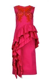 Асимметричное приталенное платье с вышивкой Dries Van Noten