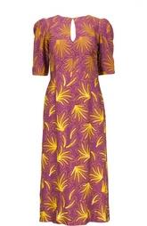 Платье с рукавом-фонарик и вырезом на спине Dries Van Noten