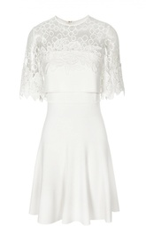 Приталенное мини-платье с кружевным верхом Elie Saab