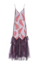 Платье-комбинация с многослойным низом и ярким принтом Dries Van Noten