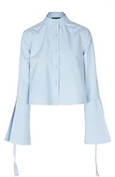 Укороченная блуза с воротником-стойкой и расклешенными рукавами Derek Lam
