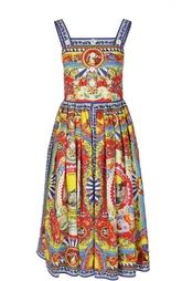 Приталенный сарафан миди с принтом Dolce & Gabbana